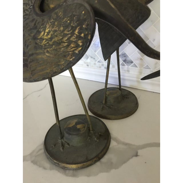 Brass Crane Statues- a Pair For Sale - Image 10 of 13