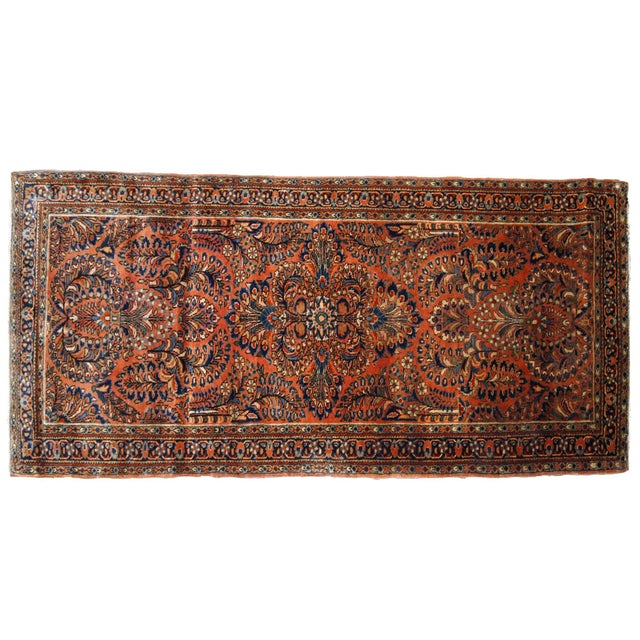 Textile 1920s, Handmade Antique Persian Sarouk Rug For Sale - Image 7 of 8