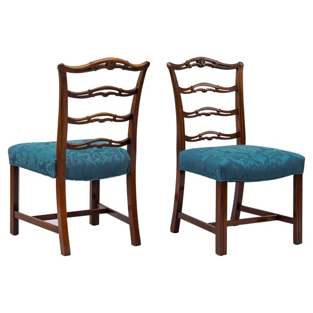 Chippendale Chippendale Ladder-Back Side Chairs, S/4 For Sale - Image 3 of 11