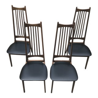 1960s Scandinavian Style Wooden Dining Chairs - Set of 4 For Sale