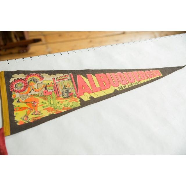 :: Vintage circa 1960's Albuquerque New Mexico felt flag souvenir banner pennant with Dancing Indian.