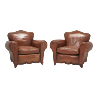 1930s French Leather Club Chairs - a Pair For Sale