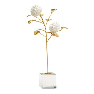 Gold & White Hydrangea on Stand For Sale