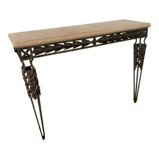 Wrought Iron & Travertine Marble Top Console Table For Sale