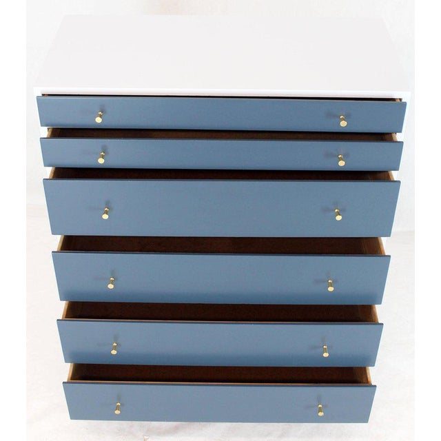 White and Blue High Chest on Chest Two Pieces McCobb Dresser Cabinet Six Drawers For Sale - Image 9 of 12