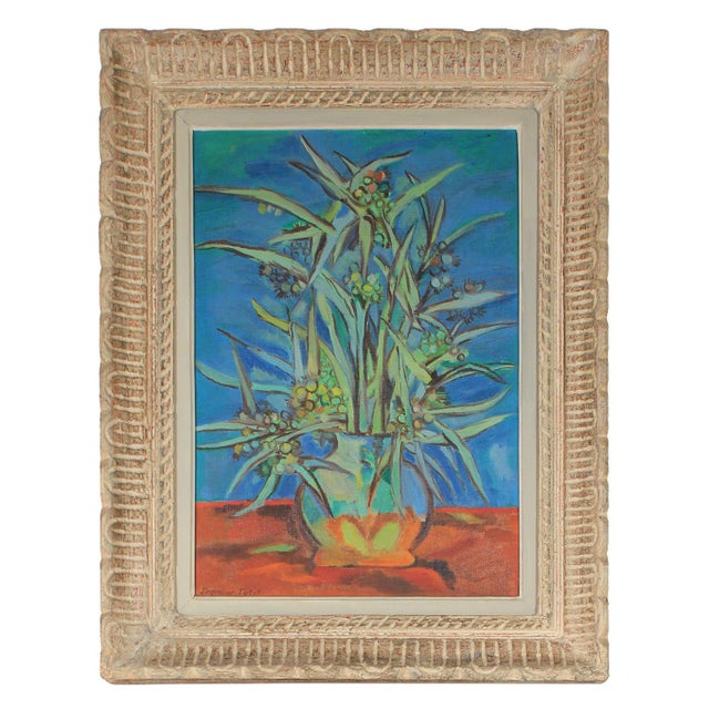 """Seymour Tubis """"Mimosa (Blue)"""" Floral Still Life in Oil, 1949 For Sale - Image 4 of 4"""