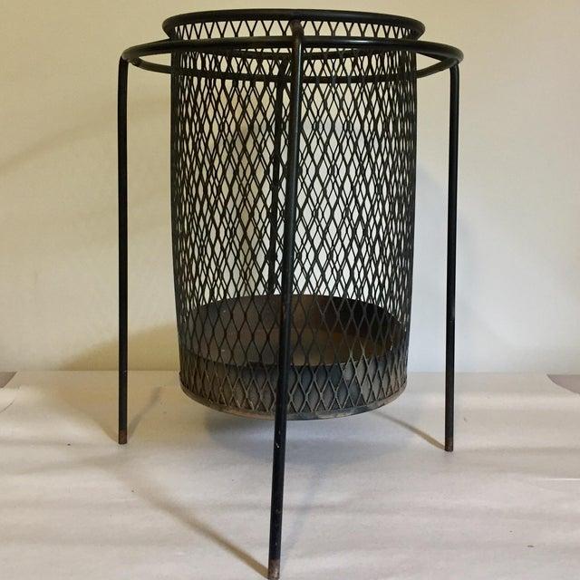 1950s Mid-Century Maurice Duchin Iron Mesh Wastebasket For Sale - Image 5 of 7