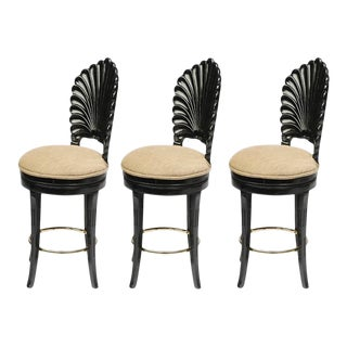 Black Lacquered Italian Venetian Grotto Shell Back Swivel Bar Stools - Set of 3 For Sale