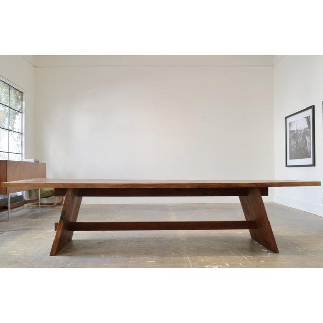 2010s Ozshop Walnut Slab Campaign Style Dining Table For Sale - Image 5 of 5