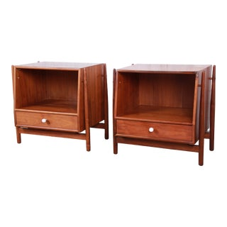 Kipp Stewart for Drexel Declaration Mid-Century Modern Walnut Floating Nightstands - a Pair For Sale