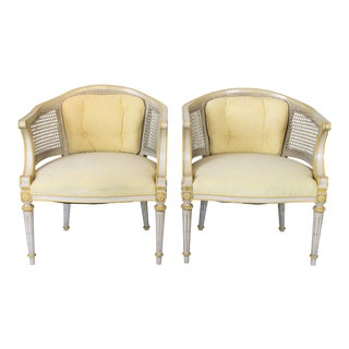 Caned Barrel Chairs - a Pair For Sale