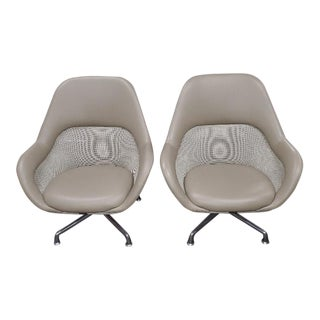 Coalesse for Steelcase Gray Leather Upholstery Lounge Chairs- A Pair For Sale