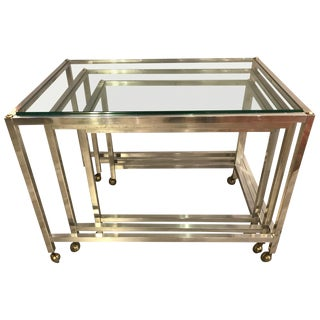 1970s Vintage Aluminum and Glass Nesting Tables - Set of 3 For Sale