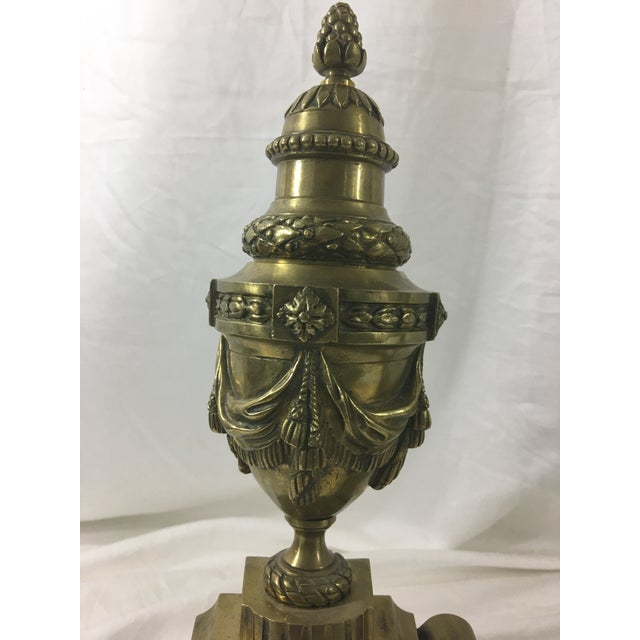 French Provincial French Louis XVI Brass Chenet - 3 Pieces For Sale - Image 3 of 10