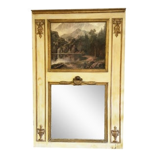 Antique French Trumeau Mirror With Hand Painted Inset Top Panel and Gilt Details For Sale