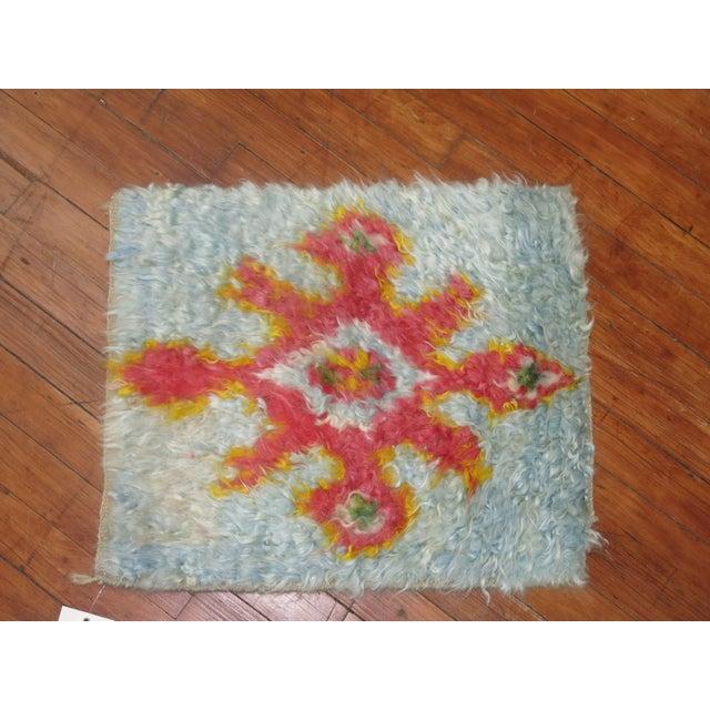 One-of-a-kind Turkish Tulu shag rug featuring a powder blue ground.