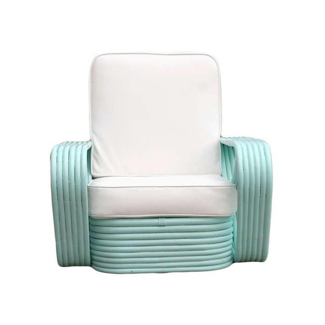 Paul Frankl Restored Teal Square Pretzel Stacked Rattan Armchairs in Style of Paul Frankl For Sale - Image 4 of 7