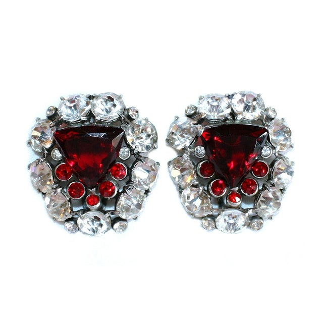 1930s 1930s Red Faceted Glass & Rhinestone Dress Clips - a Pair For Sale - Image 5 of 6