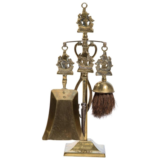Gold English Tabletop Nautical Fireplace Tool Set For Sale - Image 8 of 8