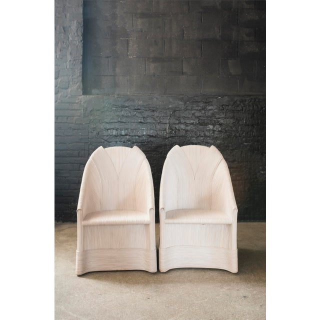 An Exquisitely Rare Pair of Scultura White Wash Armchairs on Hidden Caster Feet by Philippine Based Designer Betty...