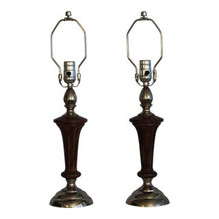1940s Empire Nickel and Walnut Finish Table Lamps - a Pair For Sale