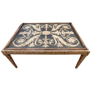 Carved and Painted Coffee Table Signed Thomas W. Morgan, 1995, Los Angeles For Sale