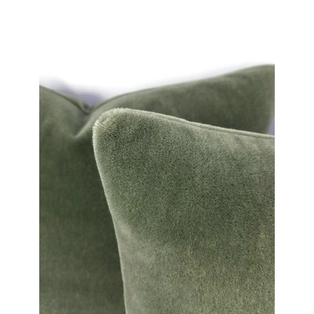 Contemporary F. Schumacher San Carlo Mohair Velvet in Moss Pillow Cover For Sale - Image 3 of 7
