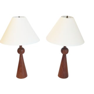 1960s Danish Modern Teak Lamps With Shades - a Pair For Sale