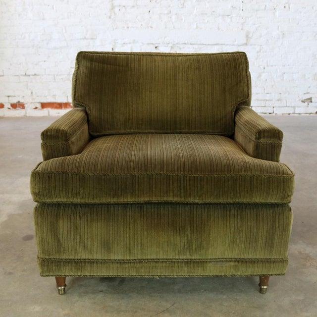 Deep Green Velvet Lawson Style Vintage Club Chair Mid Century Modern - Image 2 of 11