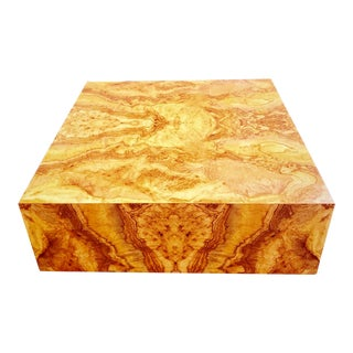 Expansive Burl Wood Floating Coffee Table Attributed to Milo Baughman For Sale