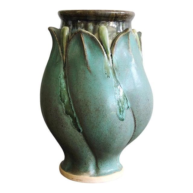 Vintage Studio Art Teal Stoneware Vase For Sale