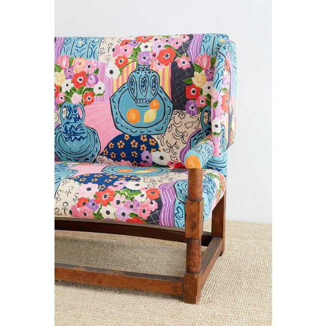 Antique English Winged Settee With Floral Upholstery For Sale - Image 9 of 13