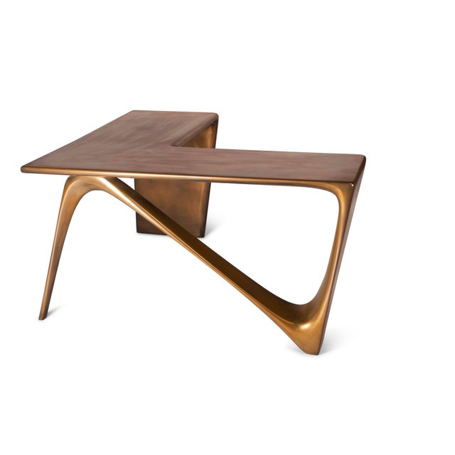 Not Yet Made - Made To Order Amorph Astra Desk, L Shaped Desk Gold Finish For Sale - Image 5 of 8