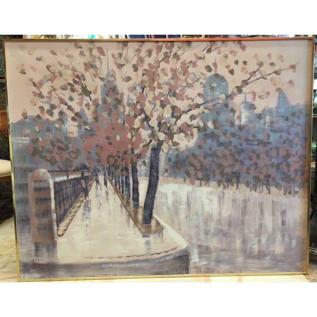 Lee Reynolds Vanguard Studio oil painting of a rainy streetscape. The scene is painted with a free, light hand in an...