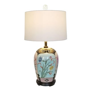 Large Famille Rose Noire Porcelain Chinese Table Lamp Flowers and Leaves - Feng Shui - Chinoiserie Palm Beach Boho Chic Tropical Coastal Botanical For Sale