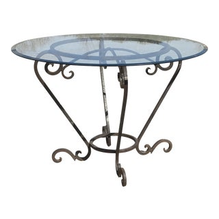 Scrolled Wrought Iron Breakfast or Patio Garden Table For Sale