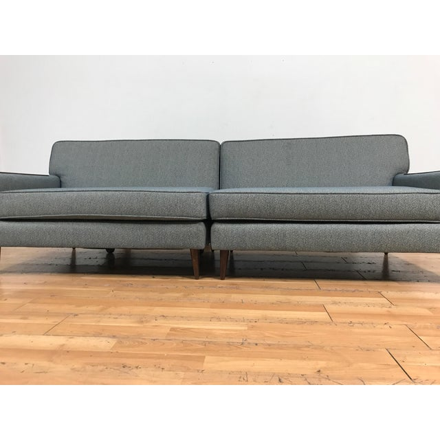 Mid-Century Two Pc. Blue Sectional Sofa For Sale - Image 4 of 7