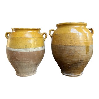 Antique 19th Century French Confit Pot Yellow Glazed Pottery Provence - Set of 2 For Sale