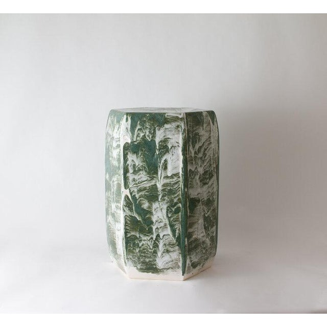 The garden stool is shown with our Forest Drip brushed glaze. Handmade. Signed by Paul Schneider. Lead time five weeks....