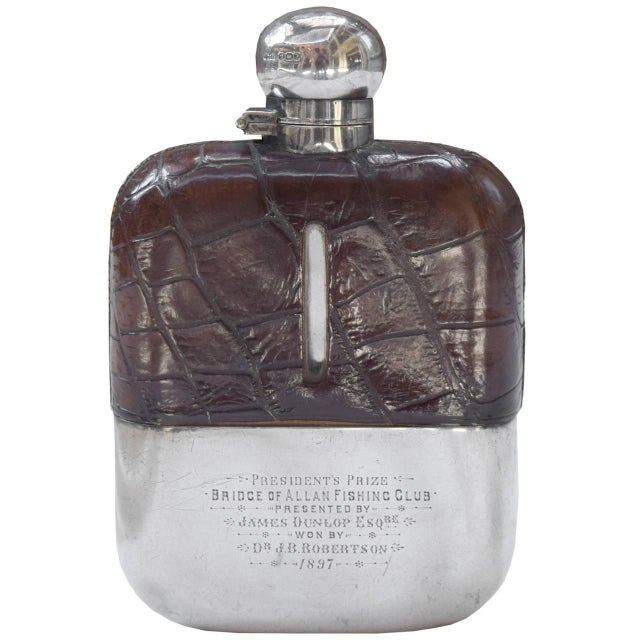 Bridge of Allan Fishing Club Sterling Silver and Alligator Hip Flask - Image 2 of 3