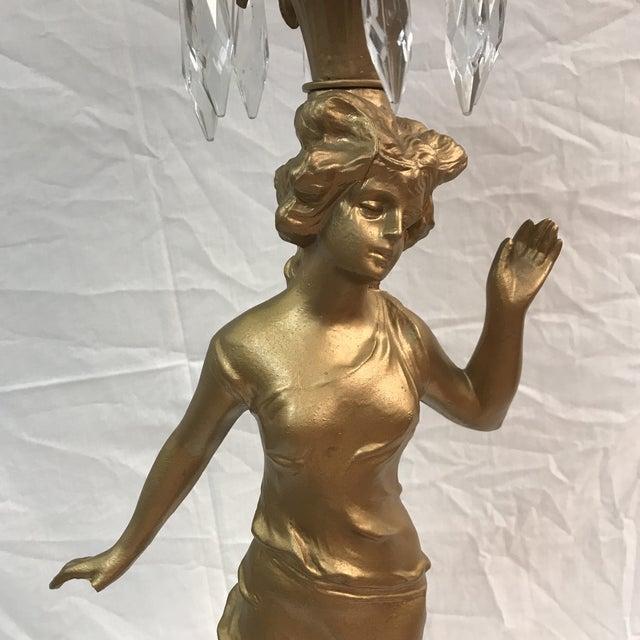 Vintage Metal Woman Figurine Lamp - Image 3 of 9