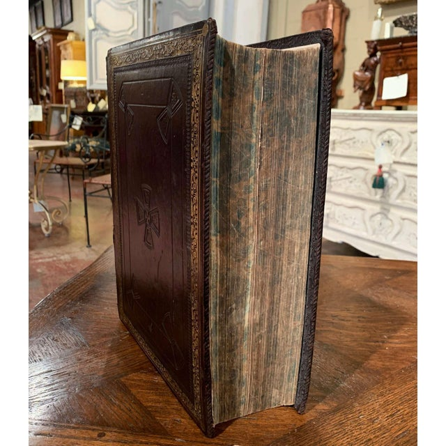 19th Century English Black Leather-Bound and Gilt Tooling Holy Family Bible For Sale - Image 4 of 10