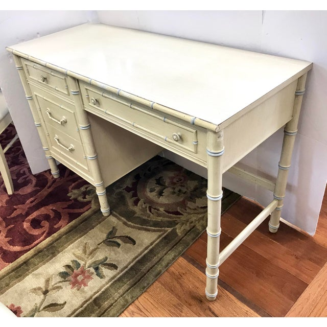 Asian Vintage Thomasville Cream Painted Faux Bamboo Desk and Chair For Sale - Image 3 of 10
