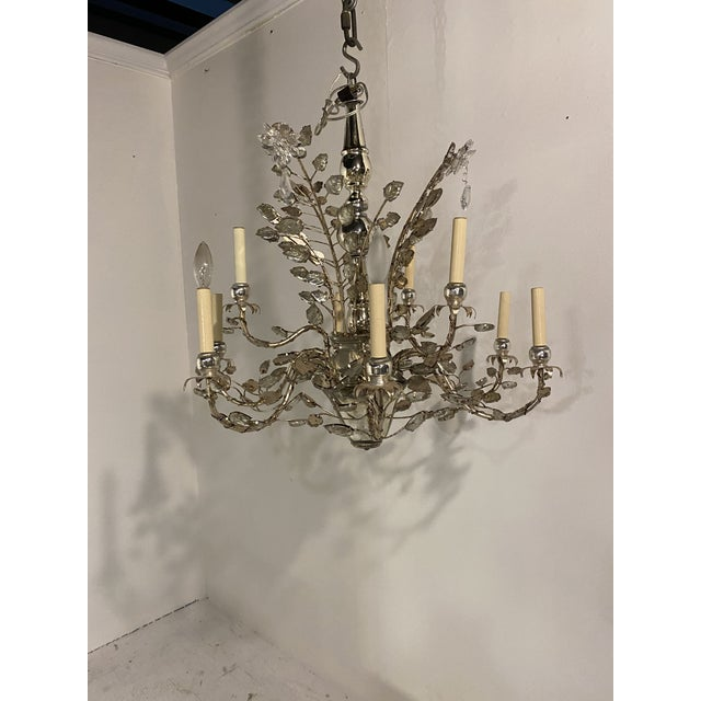 1930s French Silver Leaves Chandelier For Sale - Image 9 of 9