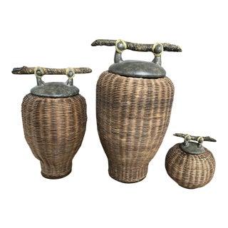 Vintage Rattan Woven Lidded Jars- Set of 3 For Sale