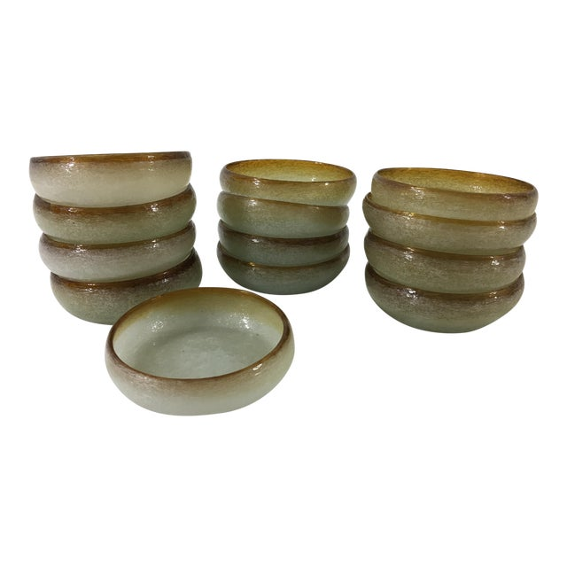 French Hand Blown Glass Finger Bowls - Set of 13 For Sale