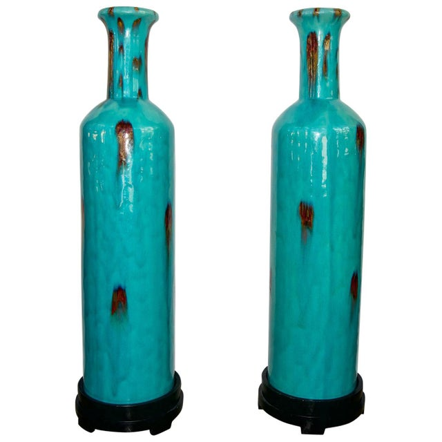 Turquoise Vintage Flambé Tall Glazed Turquoise Vases Urns - a Pair For Sale - Image 8 of 8
