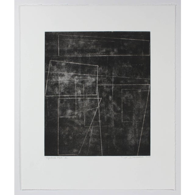 """This 2014 monotype on paper abstract in black and white entitled """"The Machine Age II"""" is by San Francisco artist and Lost..."""