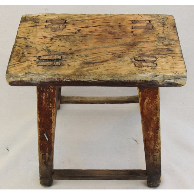 Rustic Primitive Country Wood Farmhouse Stool - Image 5 of 11