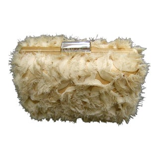 Saks Fifth Avenue Ruffled Fuzzy Cloth Evening Bag For Sale